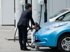 nissan-leaf-man-charging-japan