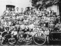 Opel-gyári munkások 1899 Rüsselsheimben